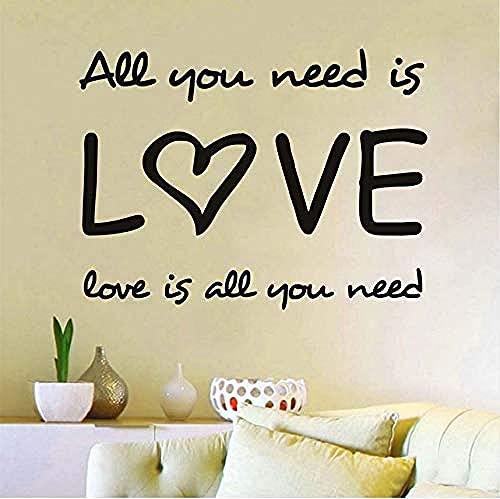 Arte de la pared Todo lo que necesitas es amor etiqueta de la pared citas de pared en inglés vinilo decoración del hogar calcomanías letras románticas patrón decorativo para dormitorio 58x43cm