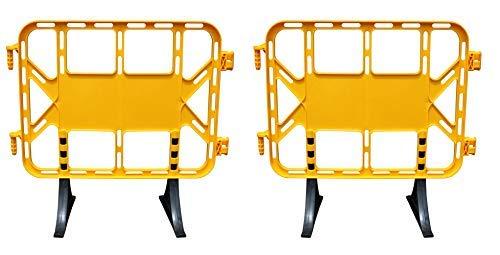Valla de plástico obra peatonal en color amarillo de de 1 metro con patas extraíbles - 2 Vallas