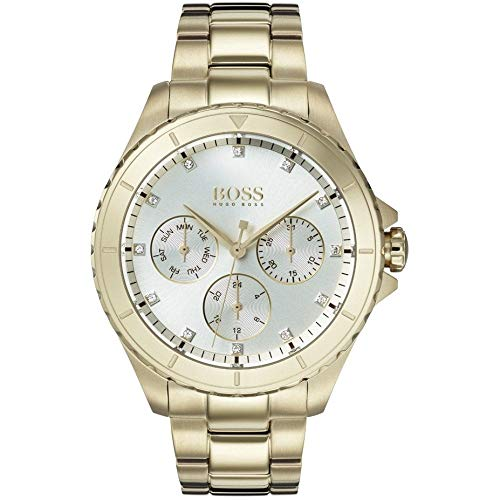 Hugo Boss Damen Multi Zifferblatt Quarz Armbanduhr mit Paqué or Armband