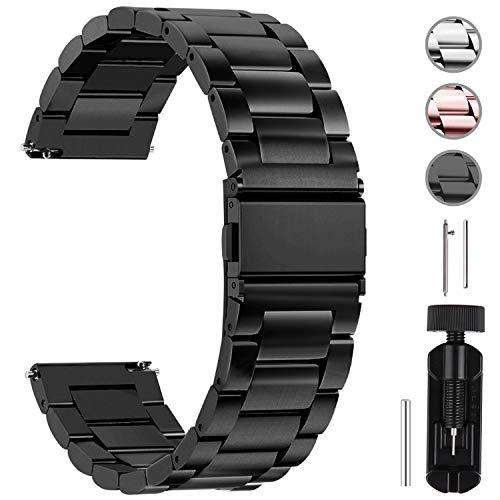 Fullmosa Uhrenarmband 22mm Edelstahl,Metall Armbänder mit Schnellverschluss für Damen&Herren, 22mm Schwarz