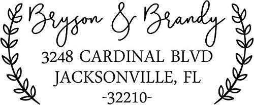 Custom Self-Inking Address Stamp with Laurel Branch Design (Medium, Style 2)