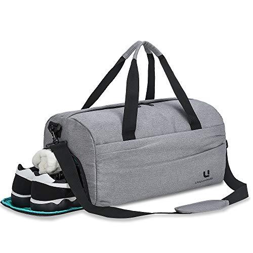 UNIQUEBELLA Bolsa de Gimnasio para Deportes con Compartimiento para Zapatos Bolsa de Lona Impermeable para Viajes Bolso Deportivo para Hombres y Mujeres, Gris