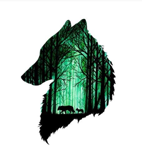 Empty 5 Stück Autoaufkleber 12CM * 15CM Zwei Wölfe im Wald Reflektierende wasserdichte abnehmbare Aufkleber Selbstklebende Vinyl-Aufkleber für Motorrad Auto-Styling Auto Auto Aufkleber