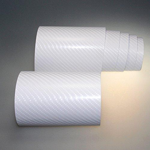 TipTopCarbon 8,55€/m² Autofolie 4D Carbon Weiß 152cm breit BLASENFREI mit Luftkanäle 3D Flex Selbstklebende Folie Auto folierung