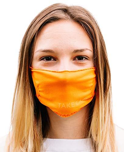 TAKE CAIR - TC Friends - 3X Hygiene Mund- und Nasen-Bedeckung, waschbar und wiederverwendbar, elastisch und komfortabel, orange (3-er Pack)