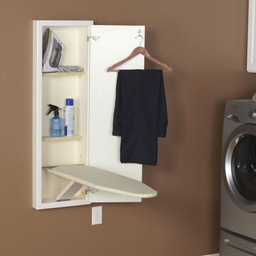 Household Essentials 18100-1 Stowaway Cabinet with Built in Ironing Board Cut into Wall to Install, White Finish