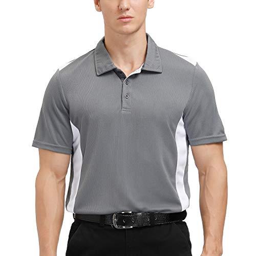 MOHEEN Men's Polo Shirts Short Sleeve Quick Dry Athletic Golf T-Shirts (#12177 Gray, 2XL)