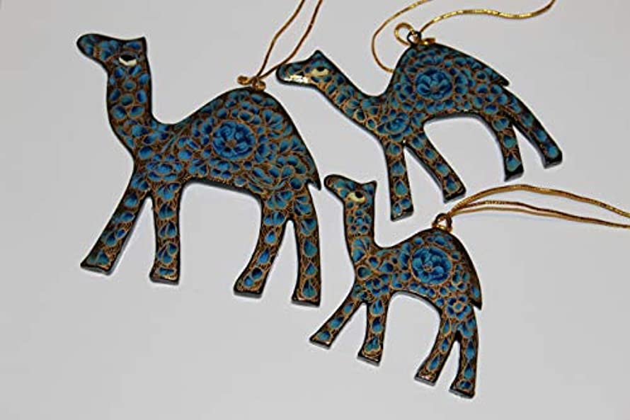 Rumikrafts Handmade Paper Mache Camel for Hanging, Set of 3, Floral Assorted Colors (Blue)