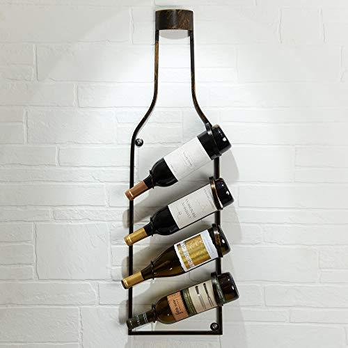 Stelous Hanging Wine Rack Wall Bronze Wine Bottles Organizer Shelf VintageRustic Kitchen Decor Wine Shape Vineyard Decor Mounting Materials Included Holds 4 Bottles