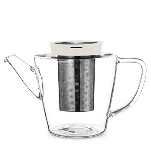 Théière en verre avec filtre en acier inoxydable et couvercle de couleur beige-kaki, avec bec verseur anti-gouttes, convient pour la préparation de thé en vrac