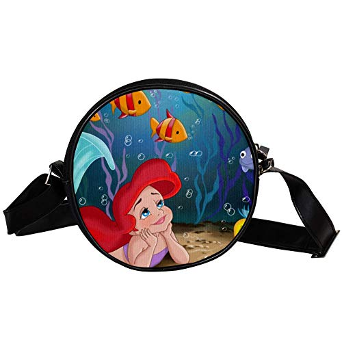 Bennigiry Damen Handtasche mit Meerjungfrauen-Motiv, rund, Schultertasche, Tragegriff