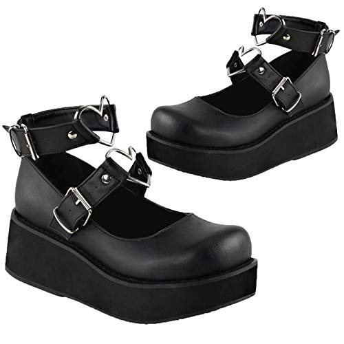 VOMIRA Mary Jane Shoes for Women, Sweet Heart Ankle Buckle Strap Lolita Shoes, Goth Platform Mary Janes Pumps, Dress Flat Shoes Black