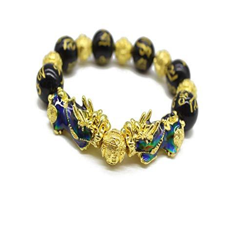 JIACUO Pulsera de Cuentas de Pixiu Chino Que Cambia de Color con el Amuleto de la Suerte, joyería Unisex