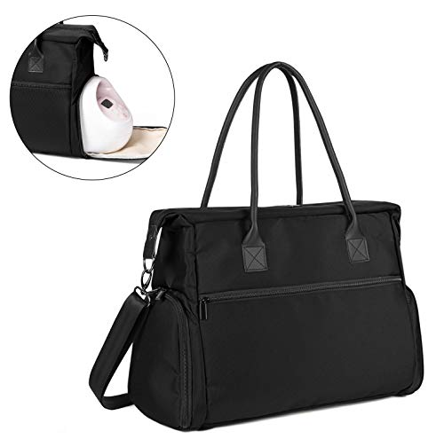 Teamoy Breast Pump Bag, Leather Straps Pump Bag Tote with Laptop Sleeve for Working Moms- Fits Most Brands Breast Pumps and Cooler Bag, Black (PU Handle)