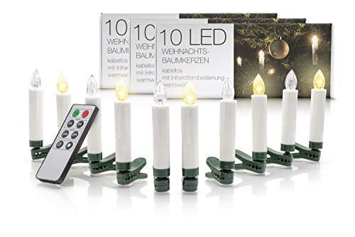 LED Universum Trådlös julgransbelysning: dimbara batteridrivna LED-ljus med fjärrkontroll och timerfunktion (set om 30, varmvit, med olika lägen, trådlös)