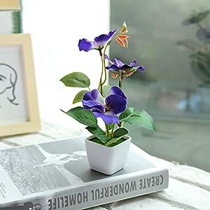 Silk Flower Arrangements NUZYZ Artificial Flower Plant Bonsai Plastic Pot Bonsai Garden Table Party Room Decoration Blue Pansy