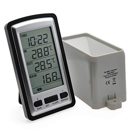 AMTAST Wireless Rain Gauge with RCC Rain Weather Station Meter Temperature Recorder Time Calendar LCD Display