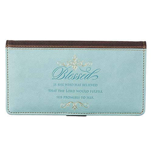"""Checkbook Cover for Women """"Blessed Is She"""" Christian Blue Wallet, Faux Leather Christian Checkbook Cover for Duplicate Checks & Credit Cards – Luke 1:45"""