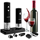 Wine Opener Set with LED Electric Corkscrew - Wine Preserver- Silicone Foil Cutter - 2 Wine Stoppers