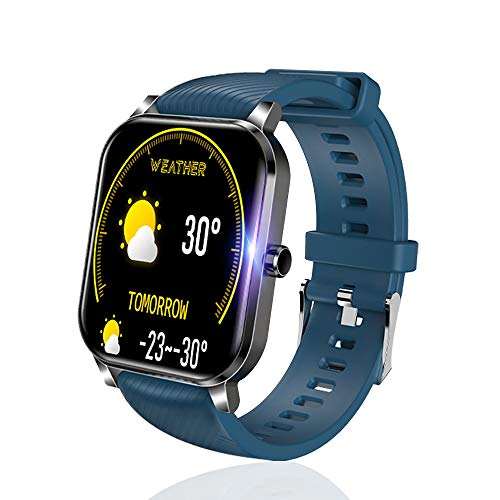 SLuB Reloj inteligente, rastreador de ejercicios, función de monitorización de frecuencia cardíaca, presión arterial y sueño, IP68 a prueba de agua, compatible con Android e iOS (Azul)
