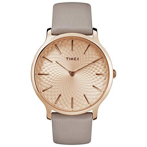 Timex mujer 'Skyline' cuarzo latón y piel Casual reloj, color: gris