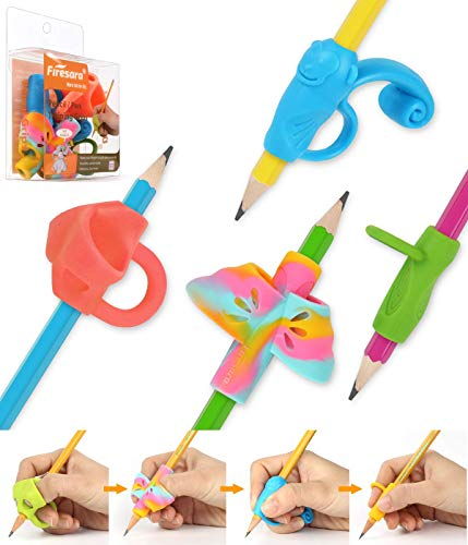 Firesara Agarrador de Lápiz Bolígrafo Agarre para Lápiz Corrector para Sujeción de Lápiz Original, Ideal para los Niños que Empiezan a Aprender a Escribir, Conjunto de 4 Unidades