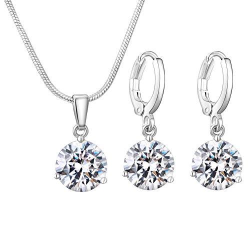 Conjunto de joyas de plata para mujer, collar con colgante de circonita nupcial y pendientes de aro colgantes, conjunto de joyas de cristal, regalos de boda de cumpleaños de San Valentín