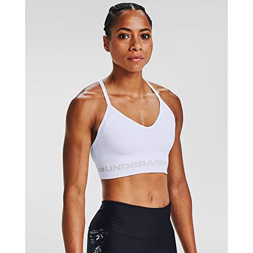 Under Armour Women's Seamless Low Long Bra , White (100)/Halo Gray , Medium