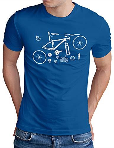 OM3® Mountain-Bike-Parts T-Shirt | Herren | MTB Bicycle Fahrrad Radsport Radfahrer | Royal Blau-WS, 4XL