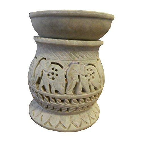 indischerbasar.de Duftlampe 11cm Elefanten bauchförmig Speckstein Duftstövchen Wohnaccessoires Deko Raumduft