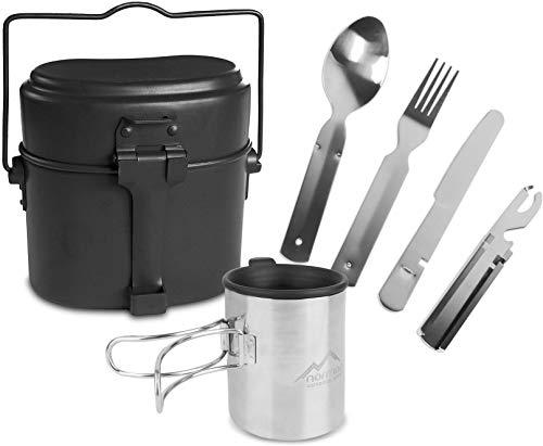 normani Outdoor Geschirr-Set bestehend aus Bundeswehr Kochgeschirr, 5-teiligem Besteck und Tasse mit klappbarem Henkel und Deckel - rostfrei und hitzebeständig Farbe Schwarz