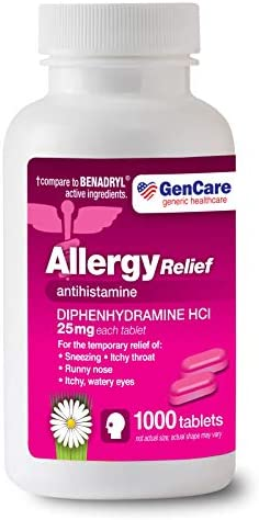 GenCare Allergy Relief Medicine Antihistamine Diphenhydramine HCl 25mg 1000 Tablets Per Bottle product image