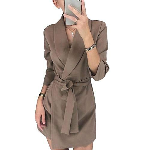U/A Elegante Vestido Office Lady Sets pantalón Trajes Chal Cuello cinturón Chaqueta Chaqueta Vestido OL
