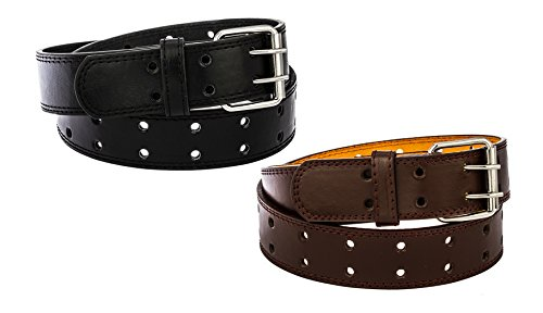 2 Pack Kids Two Hole Belt Faux Leather (Jay-Medium, Black & Brown)