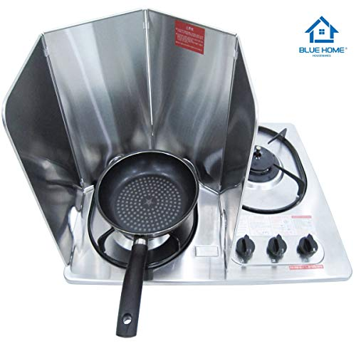 Splatter Guard for Cooking - Grease Splatter Screen - 4 Sided Splatter Guard Compact Type - Stainless Steel - Unfold 29.33 in x 13 in - Fold 7.28 in x 13 in x 0.86 in