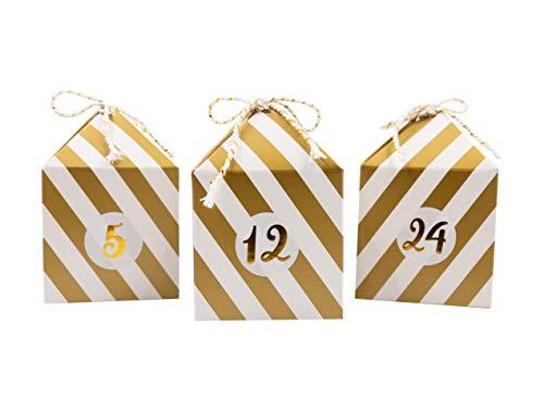 Cavore Selbstgemachter Adventskalender zum Befüllen – Weihnachtskalender DIY Set mit 24 Boxen, Zahlen-Aufkleber und Schnüre in Gold/Weiß zum Selber Basteln – Weihnachten 2020