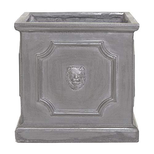 Round Wood 32cm Clayfibre Faux Lead Lion Head Square Planter/Flower Pot/Window Box/Tub/Container