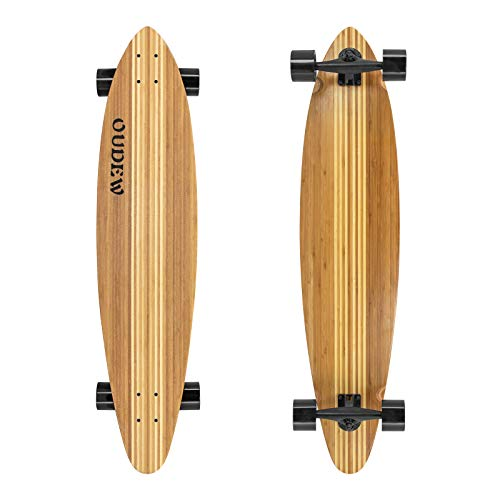OUDEW 41-Inch Longboard, 8 Ply Artisan Bamboo and Maple Longboard, Professional Complete Skateboard Bamboo Longboard for Youth Adults Girls Boys Kids