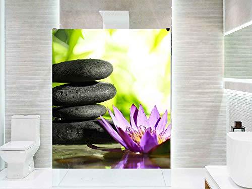 Oedim Vinilo para Mamparas de Ducha y Baños Piedras Negras, Agua y Flor Zen | 120x185cm | Adhesivo Resistente y de Fácil Aplicación | Pegatina Adhesiva Decorativa de Diseño Elegante