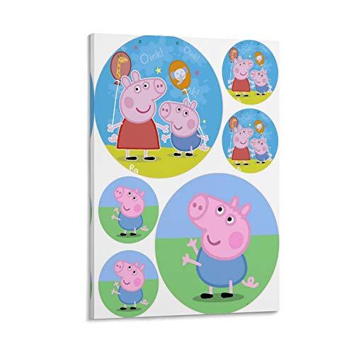 Póster de Peppa Pig y George para niños, para decoración de pared, papel pintado para dormitorio, lienzo decorativo para pared, para sala de estar, dormitorio, 20 x 30 cm