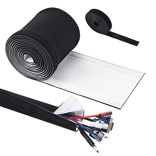 VoJoPi Neopren Kabelschlauch, 300 cm Flexibler Wiederverwendbar Kabelkanal mit Klett Kabelbinder für TV, Computer kabelmanagement oder Kabelschutz, Schwarz-Weiß Reversibel