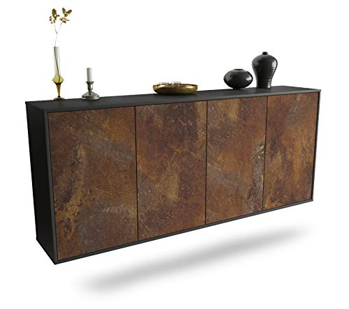Dekati Sideboard Lakewood hängend (180x77x35cm) Korpus anthrazit matt | Front rostigen Industrie-Design | Push-to-Open