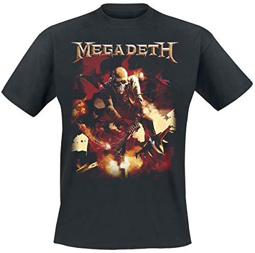 Megadeth Smash Guitar Hombre Camiseta Negro, Regular