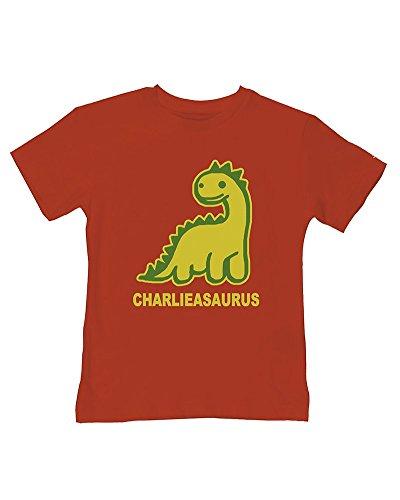 T-shirt à motif dinosaure personnalisé pour bébé garçon - Votre nom asaurus - E-mail le nom que vous voulez - Rouge - 2-3 ans
