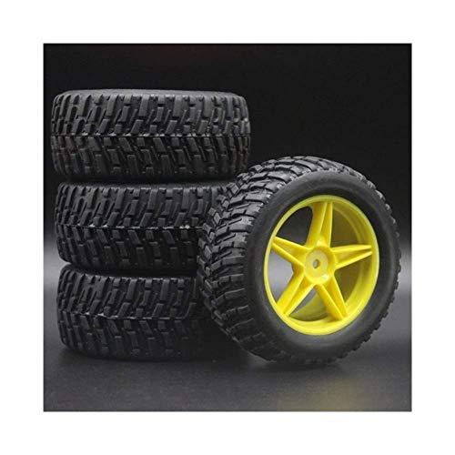 V-MAXZONE A estrenar 4pcs 1:10 RC Modelo 4WD Sport Pull Rally Car Wheel Llantas y neumáticos para HSP HIMOTO REDCAT 2.2'Neumáticos 605-7007 Repuestos Accesorios (Color : Yellow)