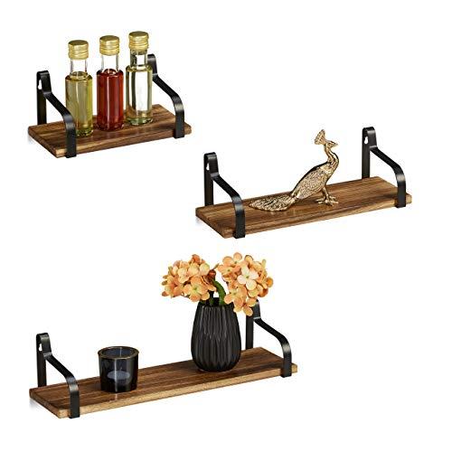 Relaxdays Wandregal 3er Set, für Wohnzimmer & Flur, schmales Deko Wandboard, Holz & Metall, B: je 23, 33 & 43 cm, natur