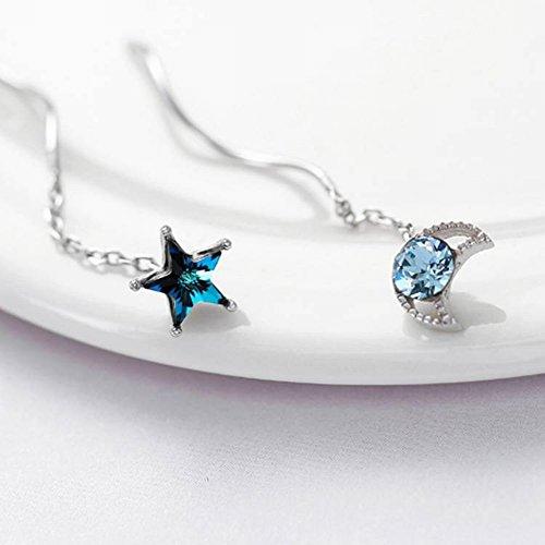 Thumby S925 Sterling Zilveren Ster Maan Oorbellen Temperament Zoete Blauwe Diamant Ster Maan Oorbellen Sieraden Vrouwen Ster Sterling Zilver Inlaid Edelstenen 925 Zilver