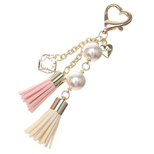 【ONLYOU】 2連パールタッセルチャーム ハート リング 財布 バッグ チャーム おしゃれ かわいい (ピンク)
