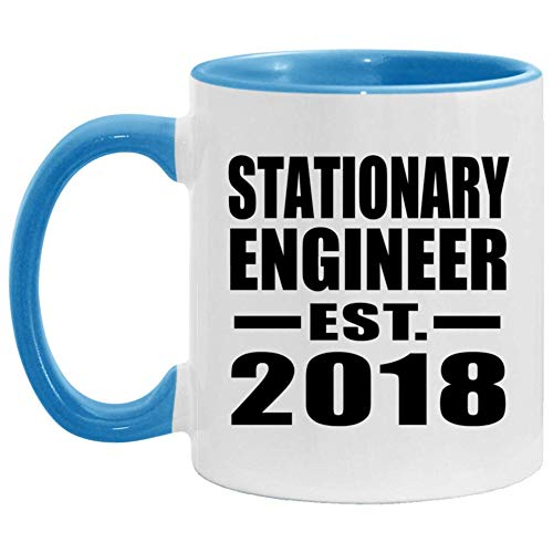 Stationary Engineer Established EST 2018-11oz Accent Coffee Mug Blue Ceramic Tea-Cup - For Friend Retirement Graduation Boss Birthday Anniversary Mothers Fathers Day F5VIPG