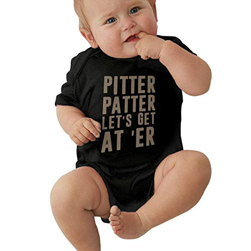 Baby Girl Boy Onesies Bodysuits Clothes Pitter Patter Short Sleeve Jumpsuit (Black, 12M)